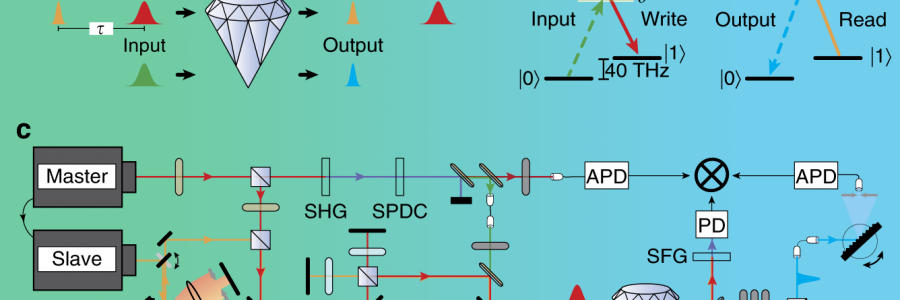 Frequency and bandwidth conversion of single photons in a room-temperature diamond quantum memory